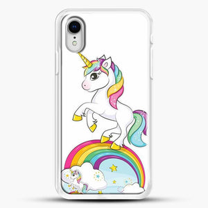Unicorn Girl Rainbow iPhone XR Case, White Rubber Case | JoeYellow.com