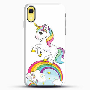 Unicorn Girl Rainbow iPhone XR Case, Black Snap 3D Case | JoeYellow.com