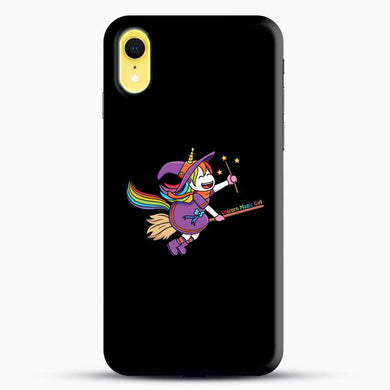 Unicorn Girl Witch iPhone XR Case, Black Snap 3D Case | JoeYellow.com