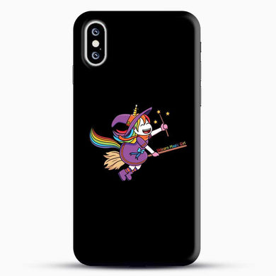 Unicorn Girl Witch iPhone XS Case, Black Snap 3D Case | JoeYellow.com