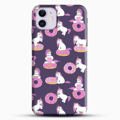 Unicorn Girl With Donut iPhone 11 Case, Black Snap 3D Case | JoeYellow.com