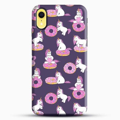 Unicorn Girl With Donut iPhone XR Case, Black Snap 3D Case | JoeYellow.com