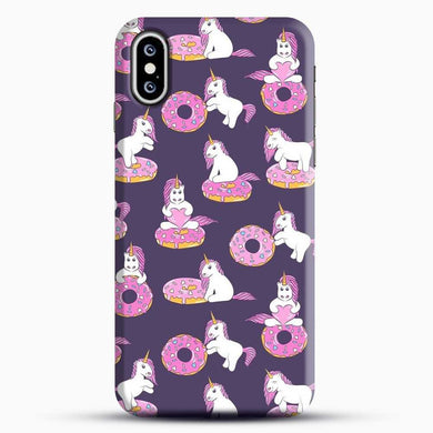 Unicorn Girl With Donut iPhone XS Case, Black Snap 3D Case | JoeYellow.com