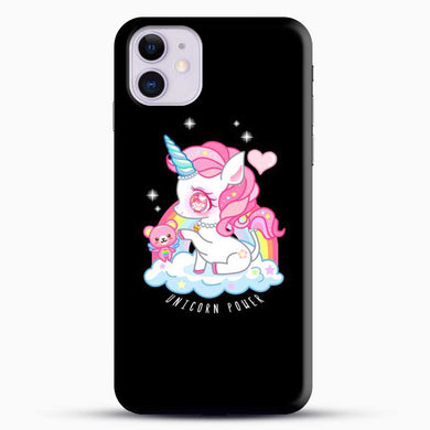 Unicorn Girl With Pink Tedy Bear iPhone 11 Case, Black Snap 3D Case | JoeYellow.com
