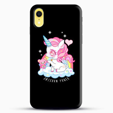 Unicorn Girl With Pink Tedy Bear iPhone XR Case, Black Snap 3D Case | JoeYellow.com