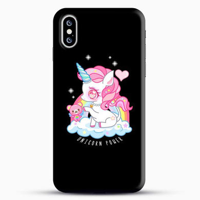 Unicorn Girl With Pink Tedy Bear iPhone XS Case, Black Snap 3D Case | JoeYellow.com
