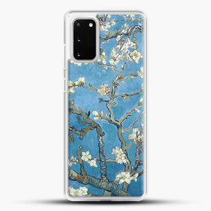 Vincent Van Gogh Branches With Almond Blossom Samsung Galaxy S20 Case, White Rubber Case | JoeYellow.com