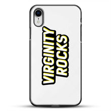 Load image into Gallery viewer, Virginity Rocks Retro iPhone XR Case, Black Plastic Case | JoeYellow.com