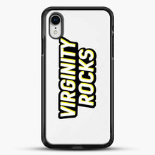 Load image into Gallery viewer, Virginity Rocks Retro iPhone XR Case, Black Rubber Case | JoeYellow.com