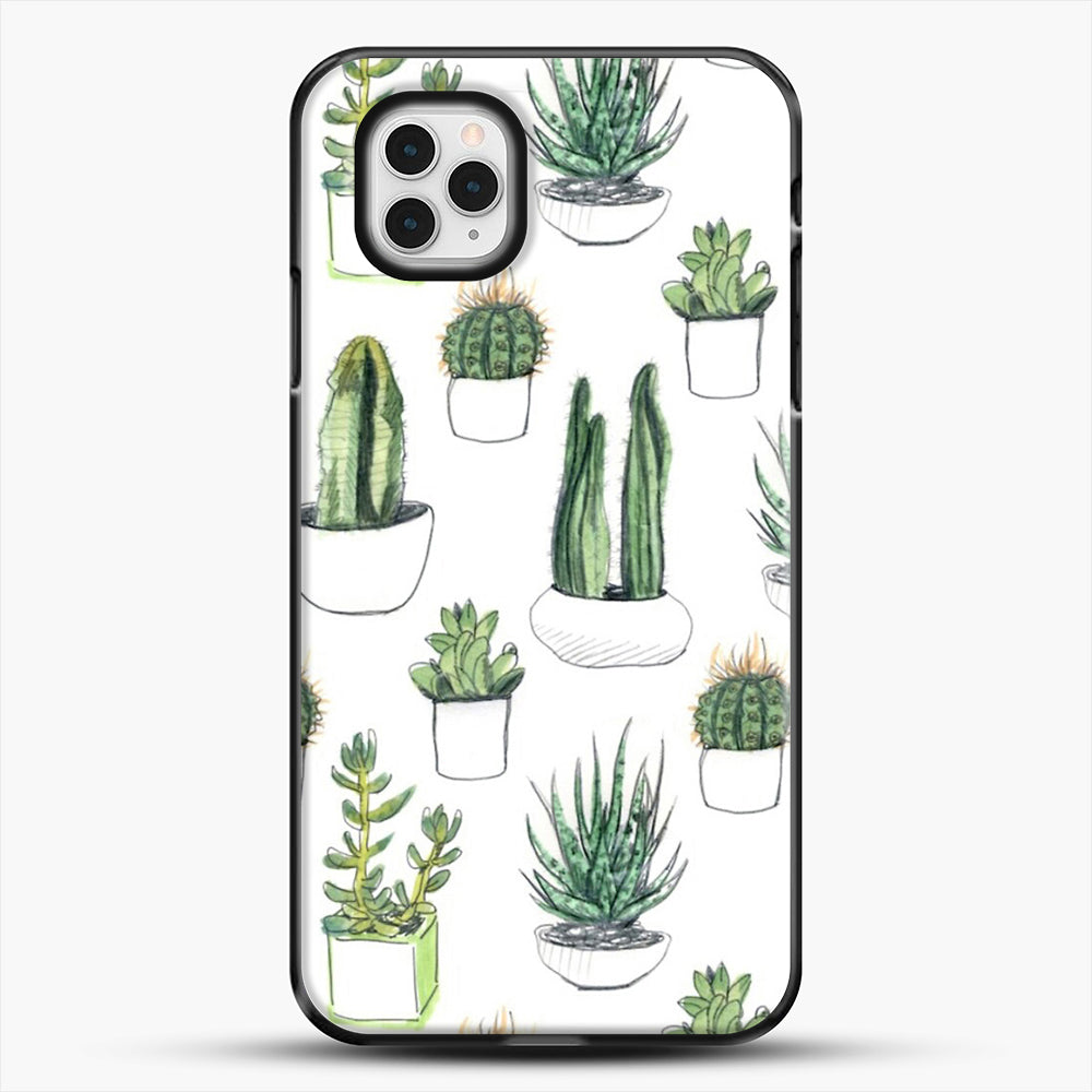 Watercolour Cacti And Succulents iPhone 11 Pro Case, Black Plastic Case | JoeYellow.com