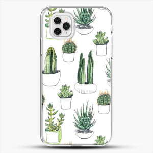 Watercolour Cacti And Succulents iPhone 11 Pro Case, White Plastic Case | JoeYellow.com
