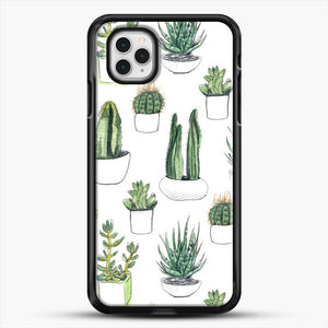 Watercolour Cacti And Succulents iPhone 11 Pro Case, Black Rubber Case | JoeYellow.com