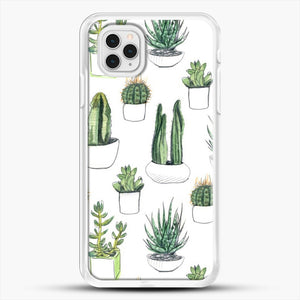 Watercolour Cacti And Succulents iPhone 11 Pro Case, White Rubber Case | JoeYellow.com
