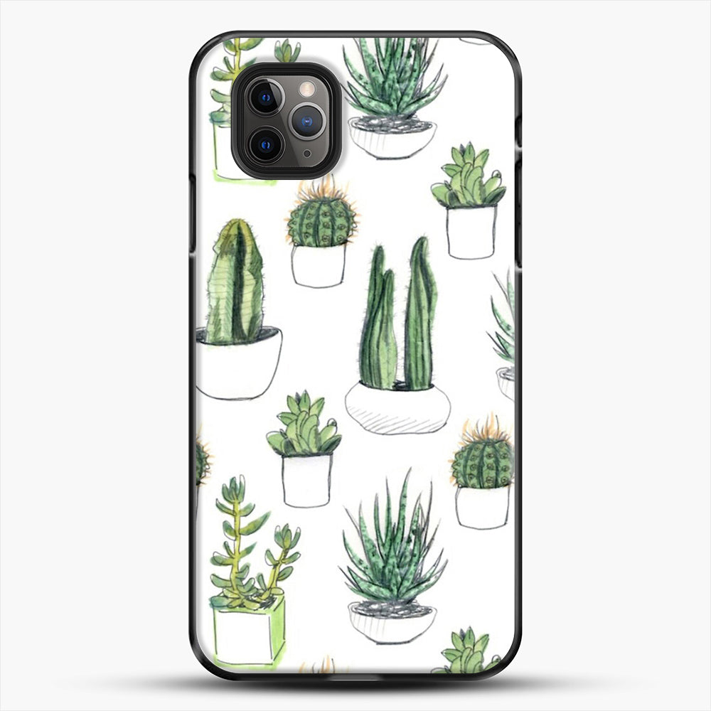 Watercolour Cacti And Succulents iPhone 11 Pro Max Case, Black Plastic Case | JoeYellow.com