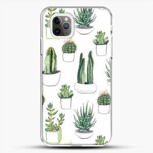 Watercolour Cacti And Succulents iPhone 11 Pro Max Case, White Plastic Case | JoeYellow.com