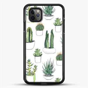 Watercolour Cacti And Succulents iPhone 11 Pro Max Case, Black Rubber Case | JoeYellow.com