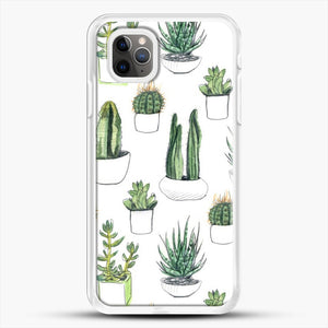 Watercolour Cacti And Succulents iPhone 11 Pro Max Case, White Rubber Case | JoeYellow.com
