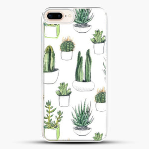 Watercolour Cacti And Succulents iPhone 7 Plus Case, White Plastic Case | JoeYellow.com
