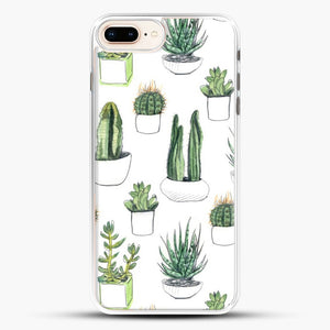 Watercolour Cacti And Succulents iPhone 7 Plus Case, White Rubber Case | JoeYellow.com