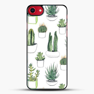 Watercolour Cacti And Succulents iPhone 8 Case, Black Plastic Case | JoeYellow.com