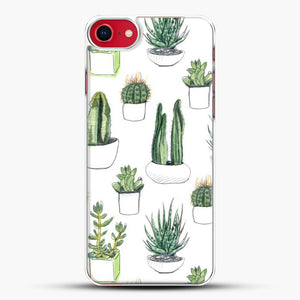 Watercolour Cacti And Succulents iPhone 8 Case, White Plastic Case | JoeYellow.com