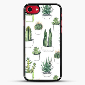 Watercolour Cacti And Succulents iPhone 8 Case, Black Rubber Case | JoeYellow.com