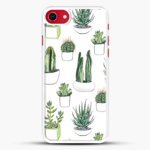 Watercolour Cacti And Succulents iPhone 8 Case, White Rubber Case | JoeYellow.com