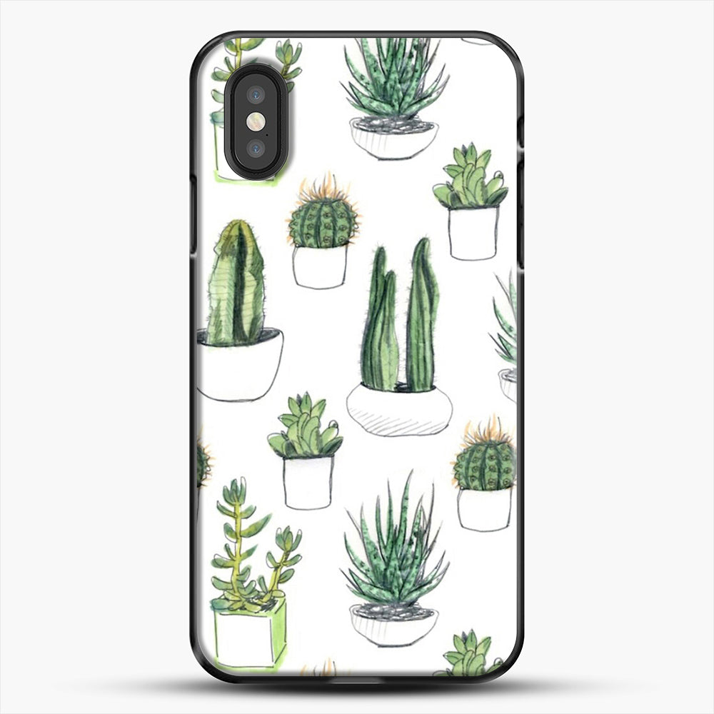 Watercolour Cacti And Succulents iPhone XS Case, Black Plastic Case | JoeYellow.com