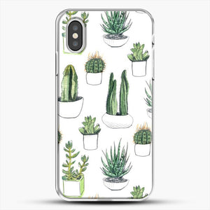 Watercolour Cacti And Succulents iPhone XS Case, White Plastic Case | JoeYellow.com