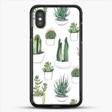 Load image into Gallery viewer, Watercolour Cacti And Succulents iPhone XS Case, Black Rubber Case | JoeYellow.com
