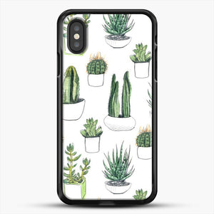 Watercolour Cacti And Succulents iPhone XS Case, Black Rubber Case | JoeYellow.com