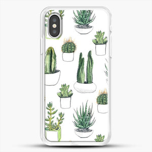 Watercolour Cacti And Succulents iPhone XS Case, White Rubber Case | JoeYellow.com