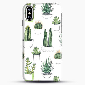 Watercolour Cacti And Succulents iPhone XS Case, Black Snap 3D Case | JoeYellow.com