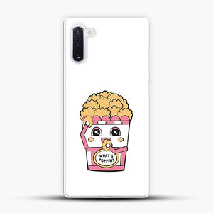 Whats Poppin Snacks Samsung Galaxy Note 10 Case, White Plastic Case | JoeYellow.com