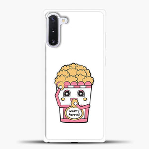 Whats Poppin Snacks Samsung Galaxy Note 10 Case, White Rubber Case | JoeYellow.com