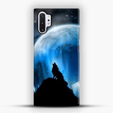Wolf At Night Howling Samsung Galaxy Note 10 Plus Case, Black Snap 3D Case | JoeYellow.com