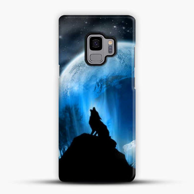 Wolf At Night Howling Samsung Galaxy S9 Case, Black Snap 3D Case | JoeYellow.com