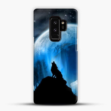 Wolf At Night Howling Samsung Galaxy S9 Plus Case, Black Snap 3D Case | JoeYellow.com