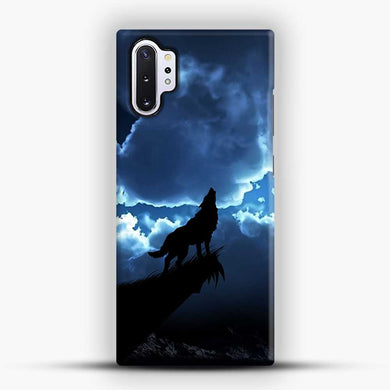 Wolf At Night On The Montain Samsung Galaxy Note 10 Plus Case, Black Snap 3D Case | JoeYellow.com