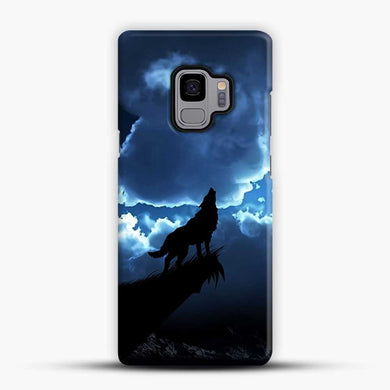 Wolf At Night On The Montain Samsung Galaxy S9 Case, Black Snap 3D Case | JoeYellow.com