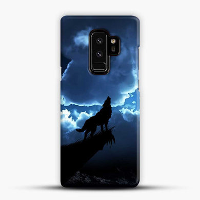 Wolf At Night On The Montain Samsung Galaxy S9 Plus Case, Black Snap 3D Case | JoeYellow.com