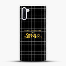 Load image into Gallery viewer, Written And Directed By Quentin Tarantino Black Square Samsung Galaxy Note 10 Case, White Plastic Case | JoeYellow.com