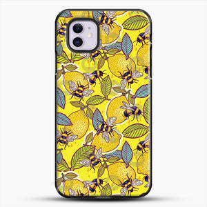 Yellow Lemon And Bee Garden iPhone 11 Case, Black Plastic Case | JoeYellow.com