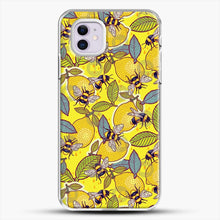 Load image into Gallery viewer, Yellow Lemon And Bee Garden iPhone 11 Case, White Plastic Case | JoeYellow.com