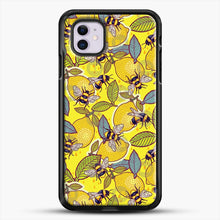 Load image into Gallery viewer, Yellow Lemon And Bee Garden iPhone 11 Case, Black Rubber Case | JoeYellow.com