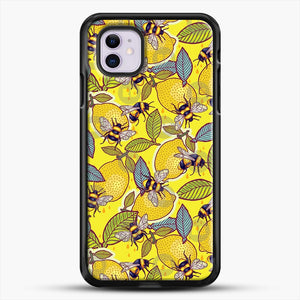 Yellow Lemon And Bee Garden iPhone 11 Case, Black Rubber Case | JoeYellow.com