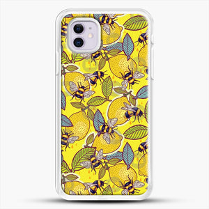 Yellow Lemon And Bee Garden iPhone 11 Case, White Rubber Case | JoeYellow.com