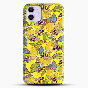 Yellow Lemon And Bee Garden iPhone 11 Case, Black Snap 3D Case | JoeYellow.com