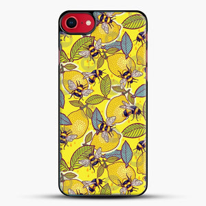 Yellow Lemon And Bee Garden iPhone 8 Case, Black Plastic Case | JoeYellow.com