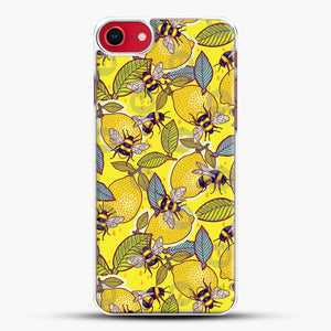 Yellow Lemon And Bee Garden iPhone 8 Case, White Plastic Case | JoeYellow.com